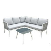 Patio Furniture Outdoor Rattan Sofa White Wicker 3pcs Garden Sectional Sofa Set Patio Cushioned