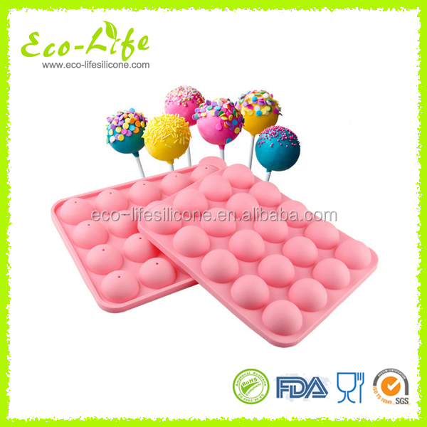 FDA/LFGB Approved Silicone Lollipop Cake Mould,Silicone Cake Pops Mold with Sticks,Chocolate Mold