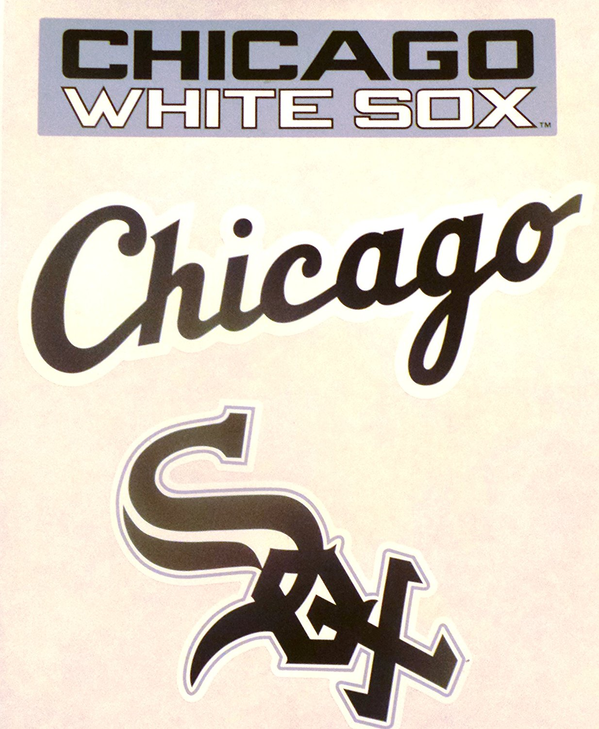 "Chicago White Sox FATHEAD Team Set of 3 White Sox Logo - Official MLB Vinyl Wall Graphics 11"" INCH SHEET"