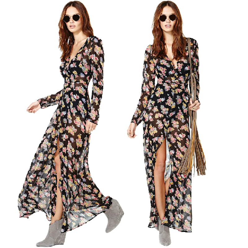 fc3d7d4b0aa Buy Women  39 s Chiffon Floral Print Long Dress Bohemian Casual Black Beach Dress  V Neck Long Sleeve Summer Dresses Vintage Maxi Dress in Cheap Price on ...