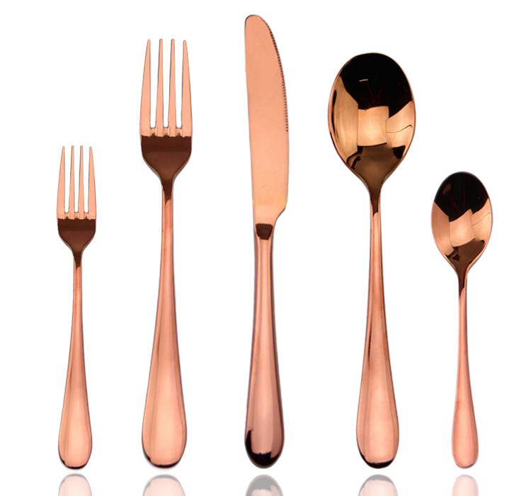 Rose or cuill re fourchette couteau fourchette rose or restaurant rose or couverts lot de - Lot de couvert de table ...