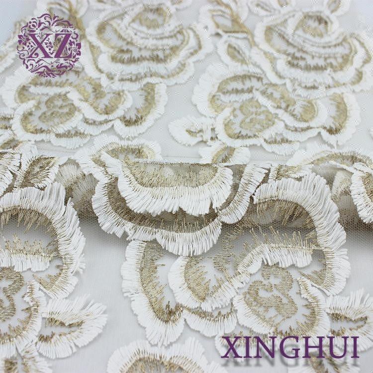 China supplier 100% polyester white embroidery <strong>dubai</strong> 3d fabric <strong>lace</strong>