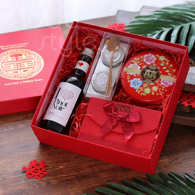 Cocostyles customized traditional chinese style red gift box for wedding guest wedding favors gift box wedding return gift