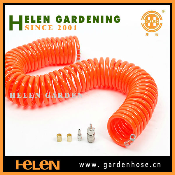 100ft garden coil hose with plastic fitting and 5 fucntion spray gun