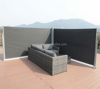 Outdoor Balcony Retractable Folding Privacy Screen Extendable Fence Divider  With Aluminum Pole