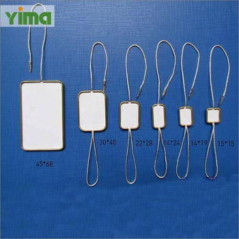 high quality different size metal clip garment hang tags strings for mountaineering clothing