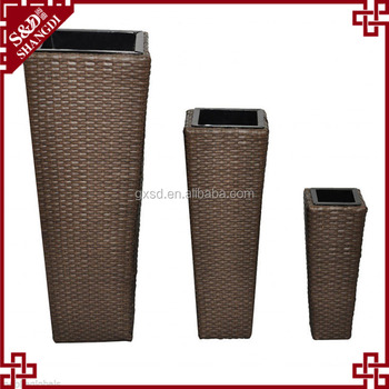 s&d rattan plastic large tall brown durable waterproof flower pots