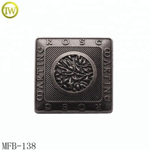 Fashion clothing square metal sewing button with plain cover