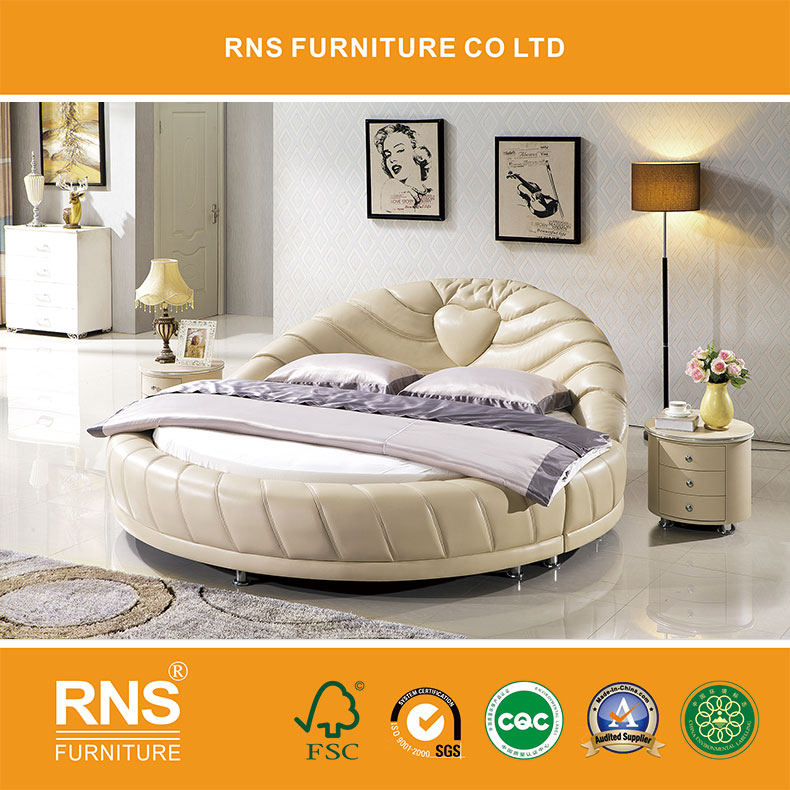 Leather King Size Furniture Bedroom Set Round Bed