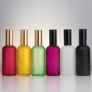 Hot sale 100ml colored frosted glass perfume spray bottle