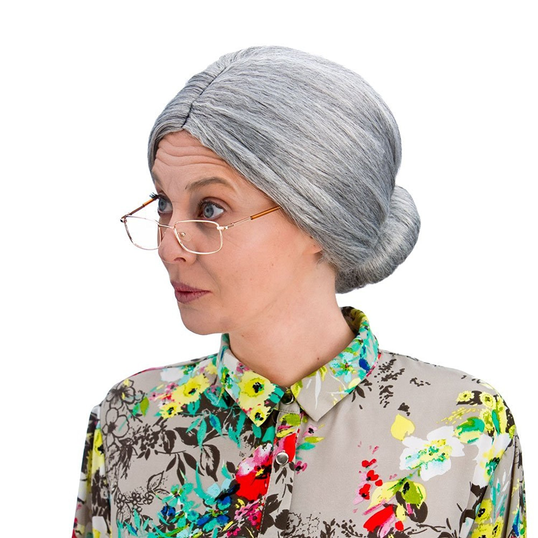 Wicked Costumes Ladies Fancy Dress Grey Bun Wig Granny Style Party Wig