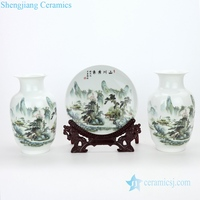 RZMN04 Jingdezhen pure manual three piece of beautiful scenery design ceramic vase and plate