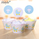 Birthday and Baby Shower Cupcake Toppers DIY Party Favors Kit, Boy Blue Wrappers 12packs PQ339