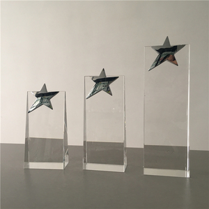 Silver Star Crystal Glass Award Trophy For engraved