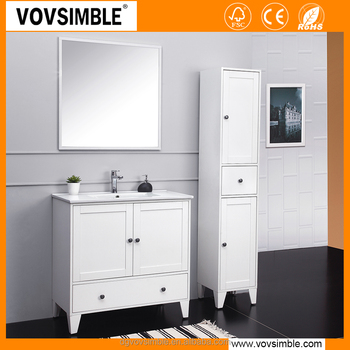 American Style Mdf White Melamine Pitted Surface Bathroom Cabinet Furniture Factory Direct Supply