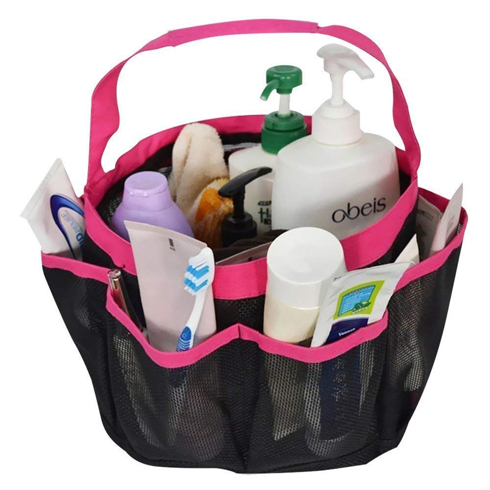 AccMart Mesh Shower Caddy, Large Quick Dry Shower Tote Bag with 8 Compartments for Shampoo and Other Bathroom Accessories, Bathroom Caddy College Dorm Room Essentials for Girls Guys (Pink)