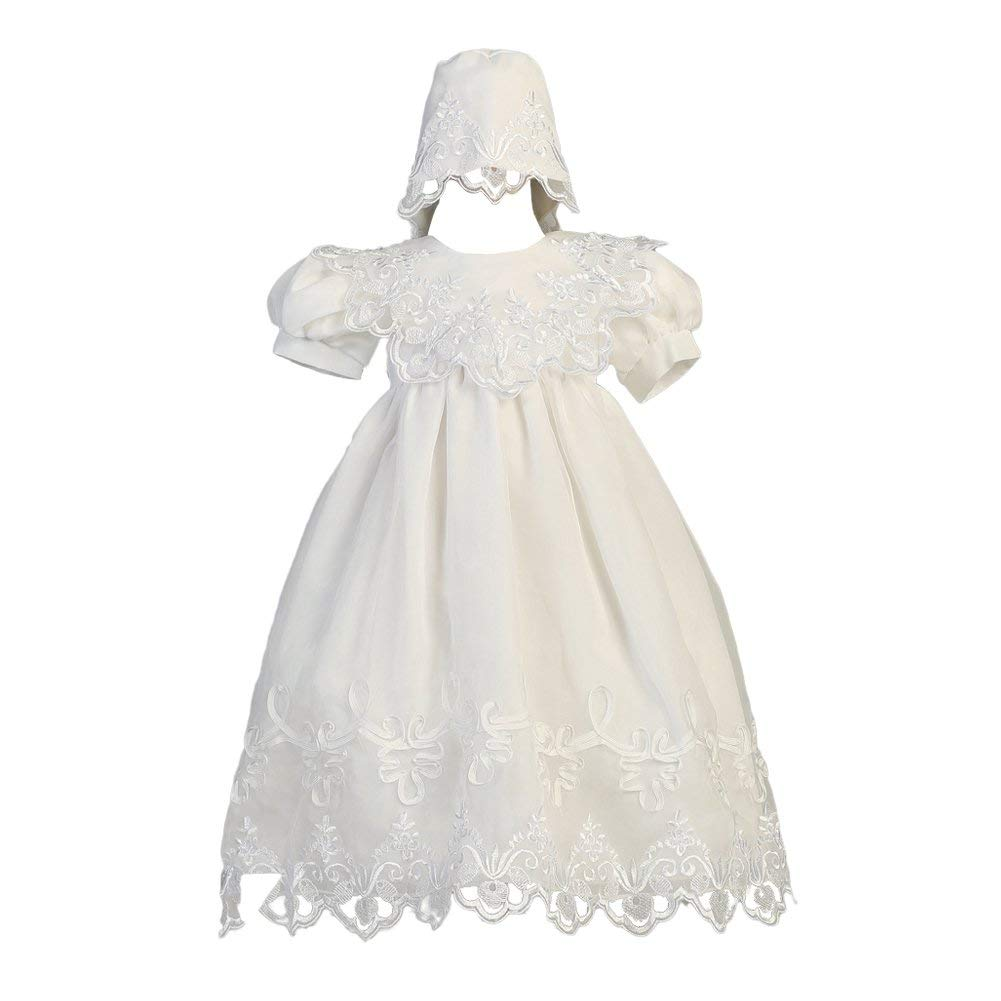 f4a5232d8 Get Quotations · Lito Baby Girls White Embroidered Organza Gown Bonnet  Christening Set 3-24M