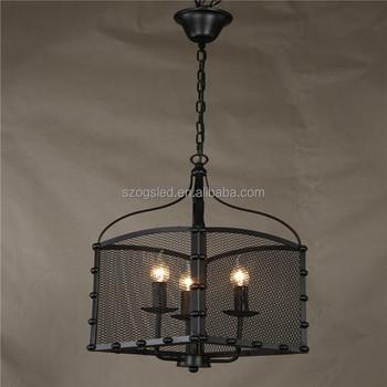 Retro E14 Candle Bare Bulb Indian Tye Basket Chandelier Wrought Black Iron Triple Pendant For Restaurant