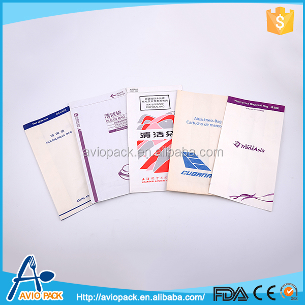 Wholesale cheap square bottom paper airplane vomit bag