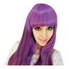 "26"" Long Mix Purple Womens Wigs with Bangs Heat Resistant Synthetic Straight Wigs for Women African American"