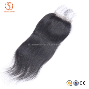 Long lasting Brazilian hair natural color three part lace closure straight hair lace closure with baby hair