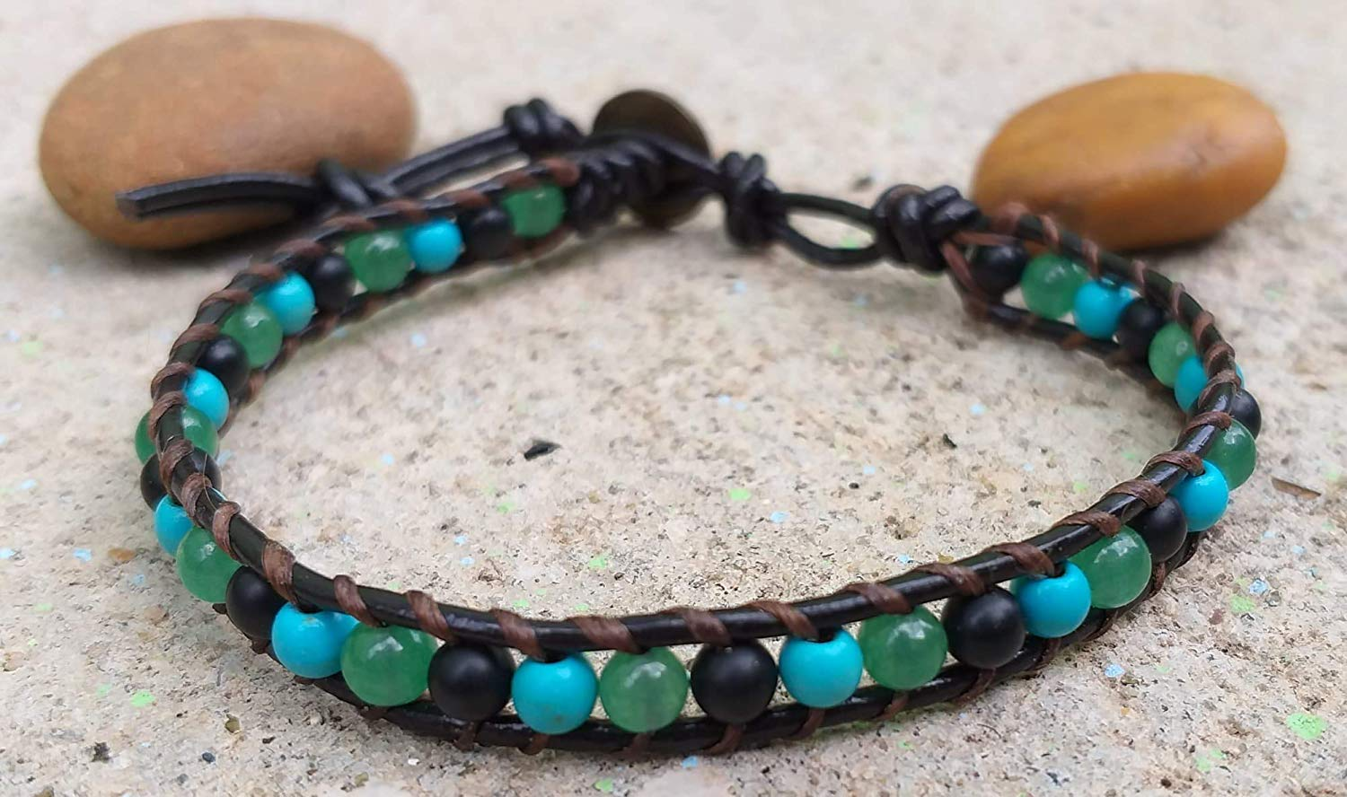 Wrap anklets,turquoise stone anklets,Onyx stone anklets,Green jade stone anklets,Use as a gift, It is fashionable for men and women.