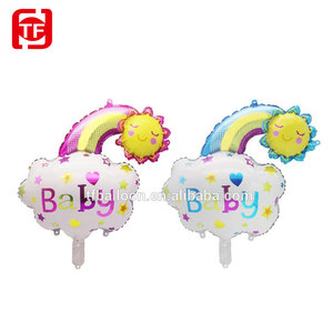 TF cheap factory supply rainbow smile baby shower kids balloons party ballons foil balloons self sealing pink blue gender reveal
