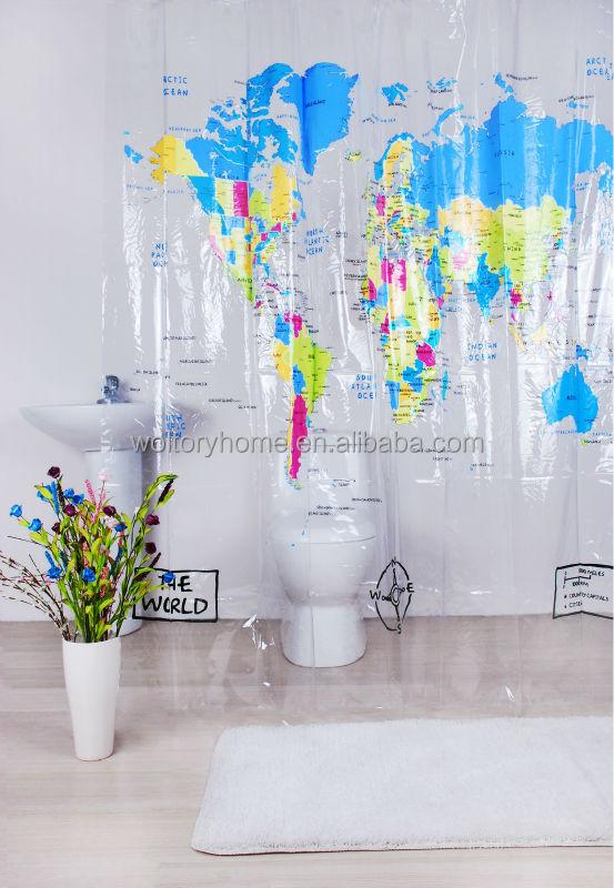 Transparent Word Map Design Plastic Shower Curtain