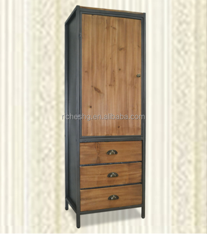 vintage style fir wood with metal legs 1 door 3 drawers cabinet