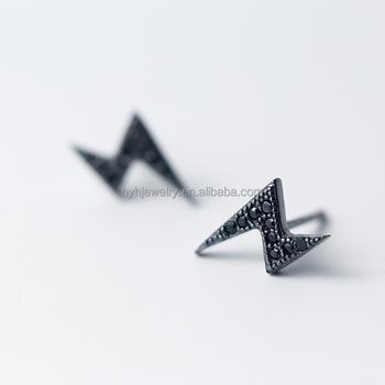 Trendy Personality Black Diamond Lighting Earring 925 Sterling Silver Stud Mens Earrings