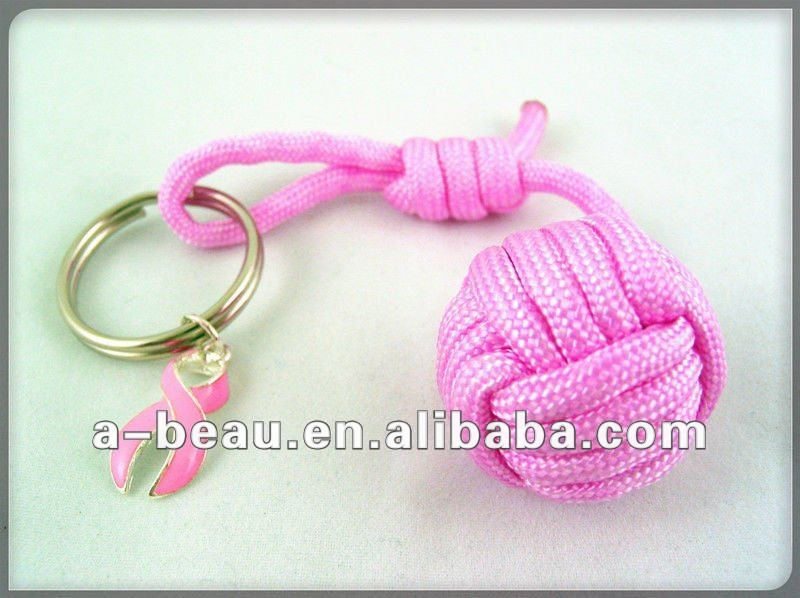 Promotion Items cute pink fireball paracord keychain
