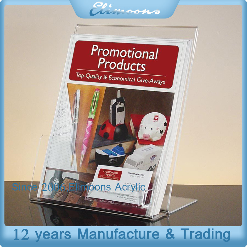 Clear Literature Document Brochure Table Acrylic Display Sign Holder With Business Card Pocket