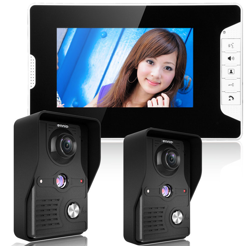New arrival 7 inch wired color video door phone 1 monitor to 2 camera