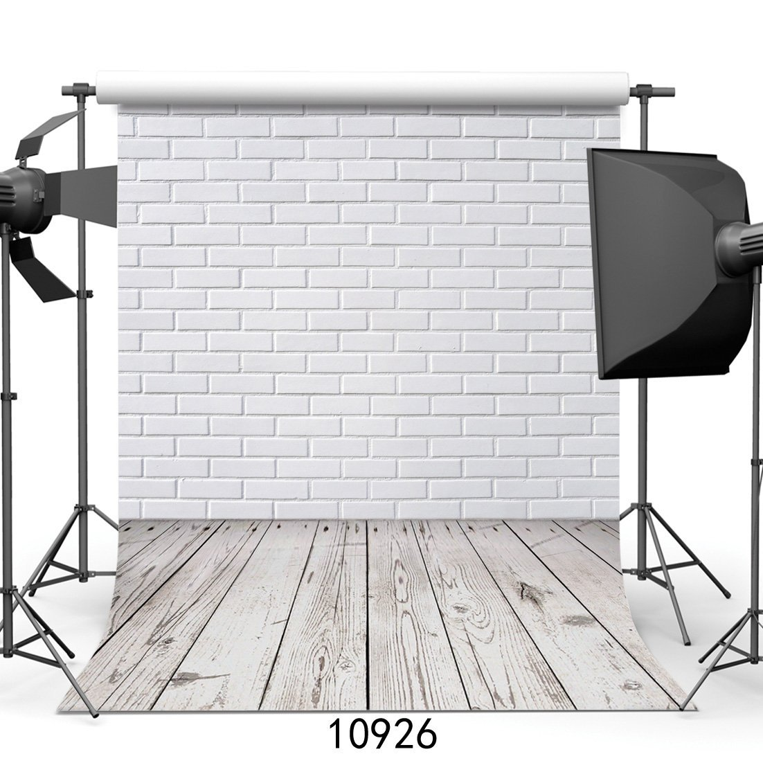 WOLADA 5X7ft Photography Background White Brick Wall Wood Floor theme Backdrops Photo Studio Backdrop Props 10926