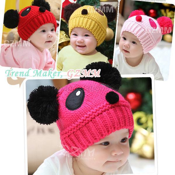 חם לפעוטות התינוק ילדים מצויר פנדה הכדור Knited סרוגה ביני כובע חורף כובע