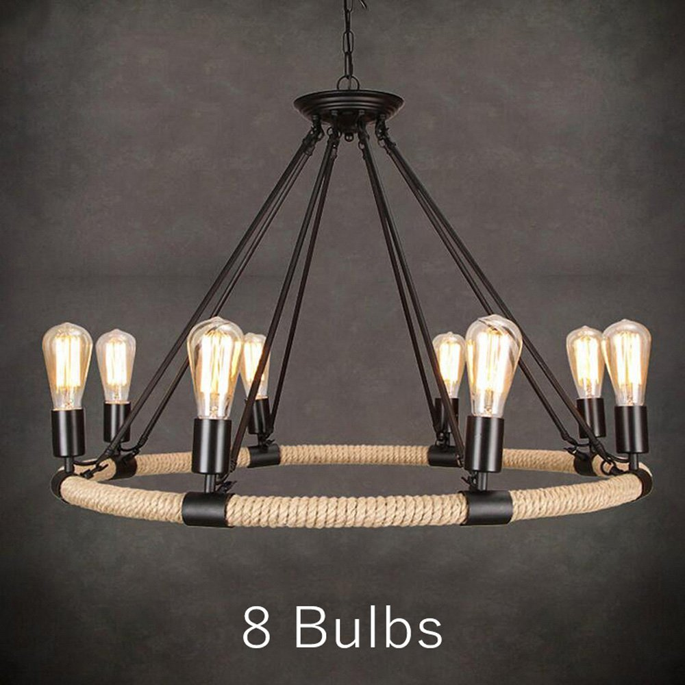 American Country Retro Hemp Rope Pendant Light Lamp Vintage Bulb Hemp Cord Hanging Lights For Cafe Restaurant Bar ( Size : B: 8 Heads )