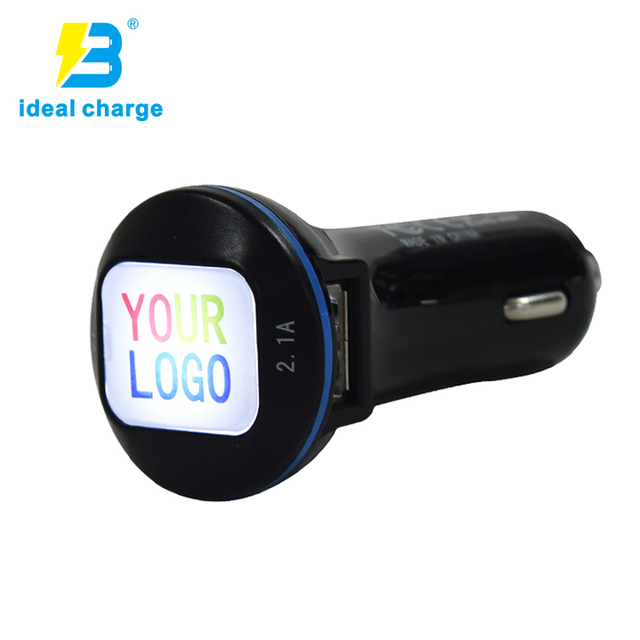 original gift usb dual mobile phone car charger with CE FCC custom led lighting logo