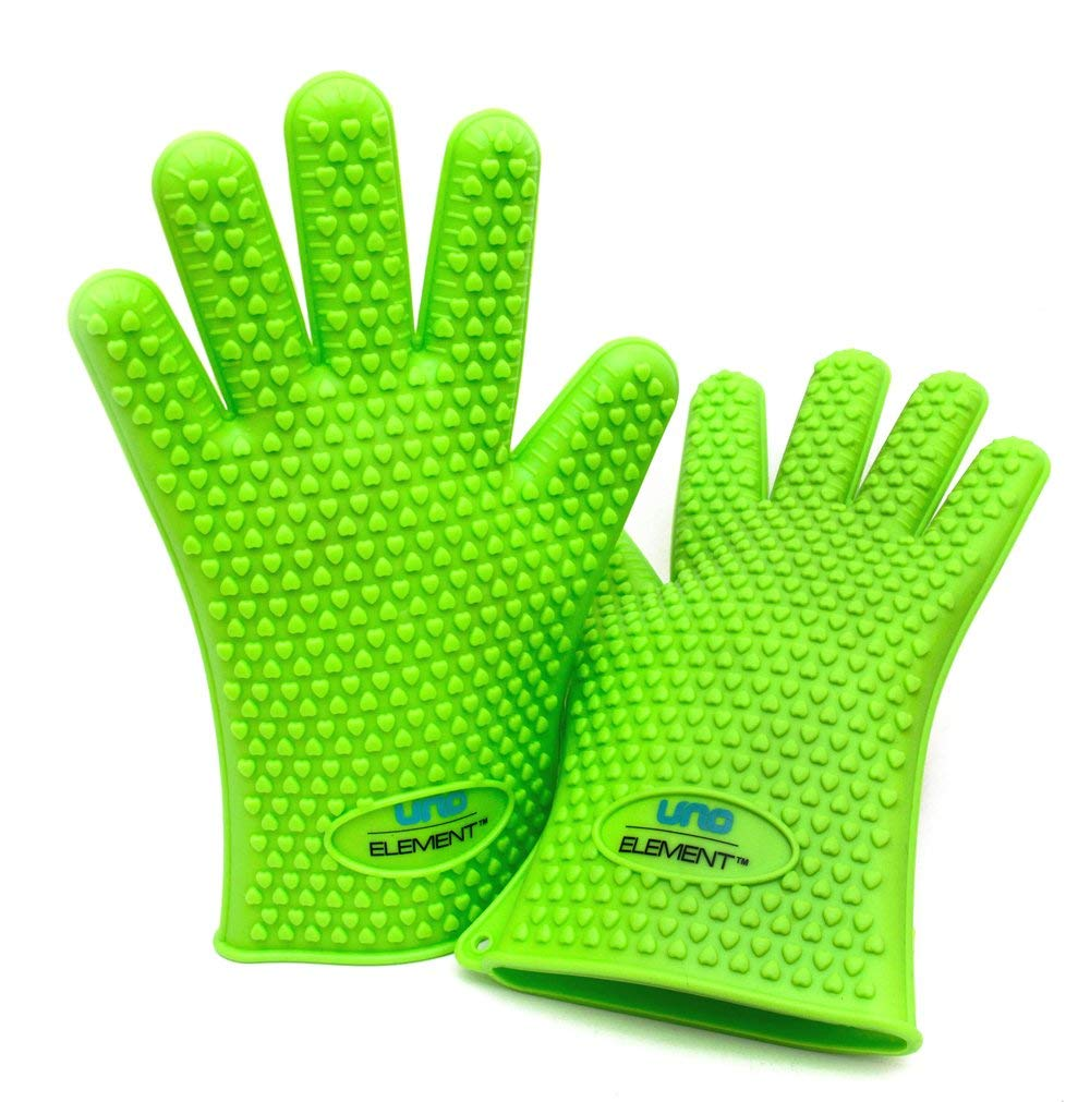 Silicone Barbecue Gloves - Charcoal Grill BBQ Pit Smoker Handle Cooking Gloves - Best Barbeque and Grilling Mitts - High Heat Temperature Resistant Glove - Protect Fingers From Heat - Turn Over BBQ Food Easily and Dishwasher Safe - You Should Not Pay High Price for The Other Same Glove and Quality