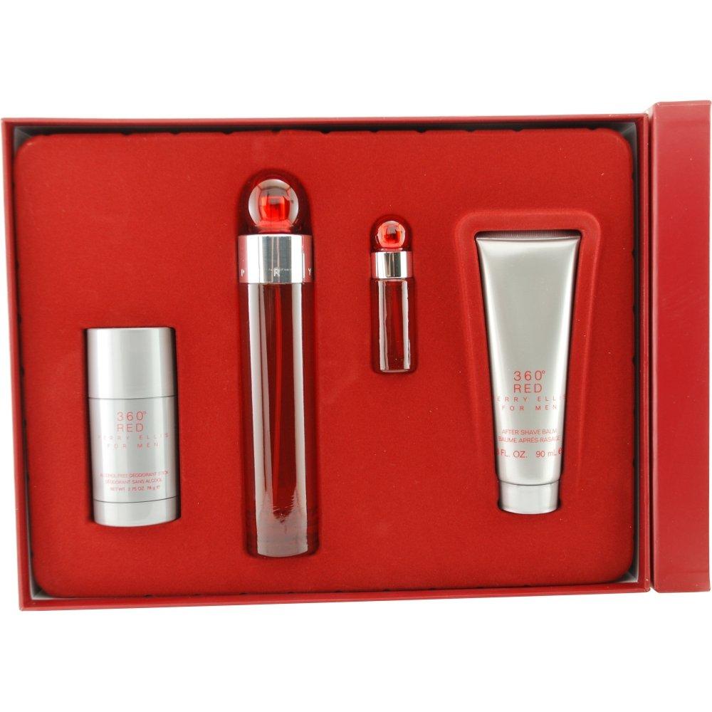 Perry Ellis 360 Red Set (Eau de Toilette Spray, Aftershave Balm), Deodorant Stick and Eau de Toilette Spray Mini)