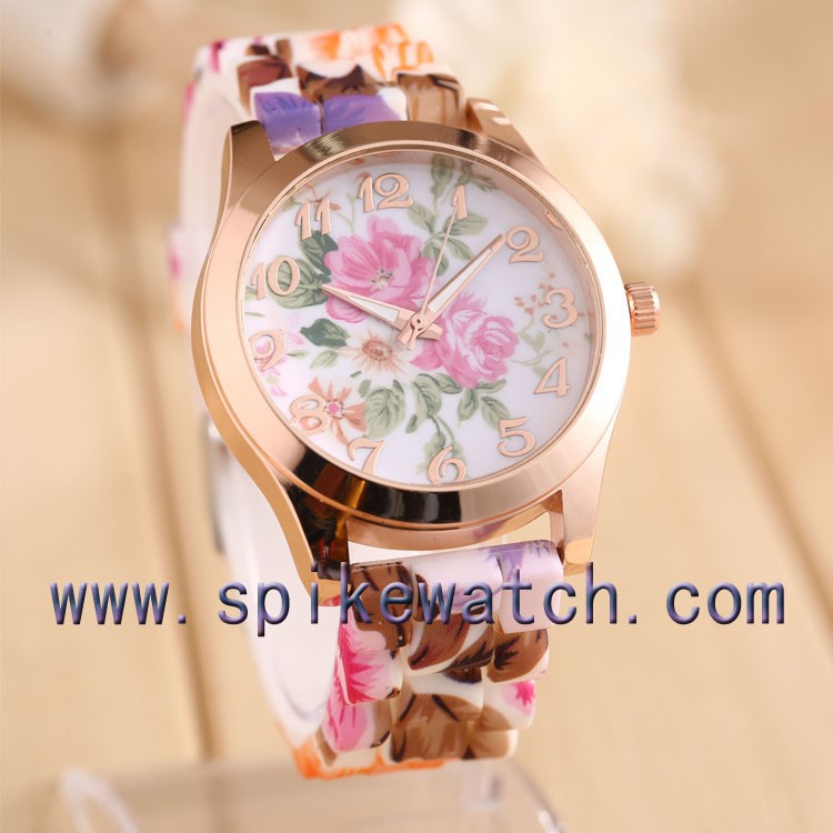 Silicone latest relojes geneva colores women's flower wristwatches high quality shenzhen