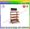 custom free standing floor food or beverage wood display rack with cool blackboard header
