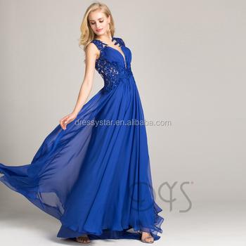 2018 Modern Chiffon Plus Size Lace Appliques Women Long Royal Blue