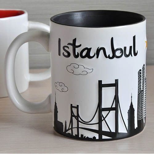 ceramic embossed city mug with black inside for coffee or tea