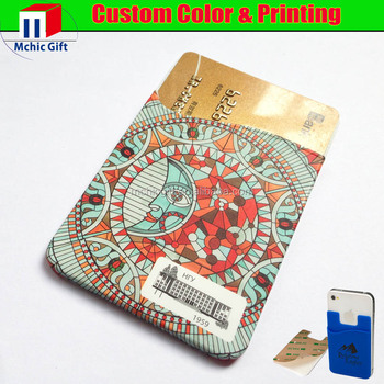 Custom made rubber silicone card holder with 3m sticker for smartphone