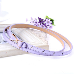 Fashion bow women candy color pu leather alloy belt for dress accessories
