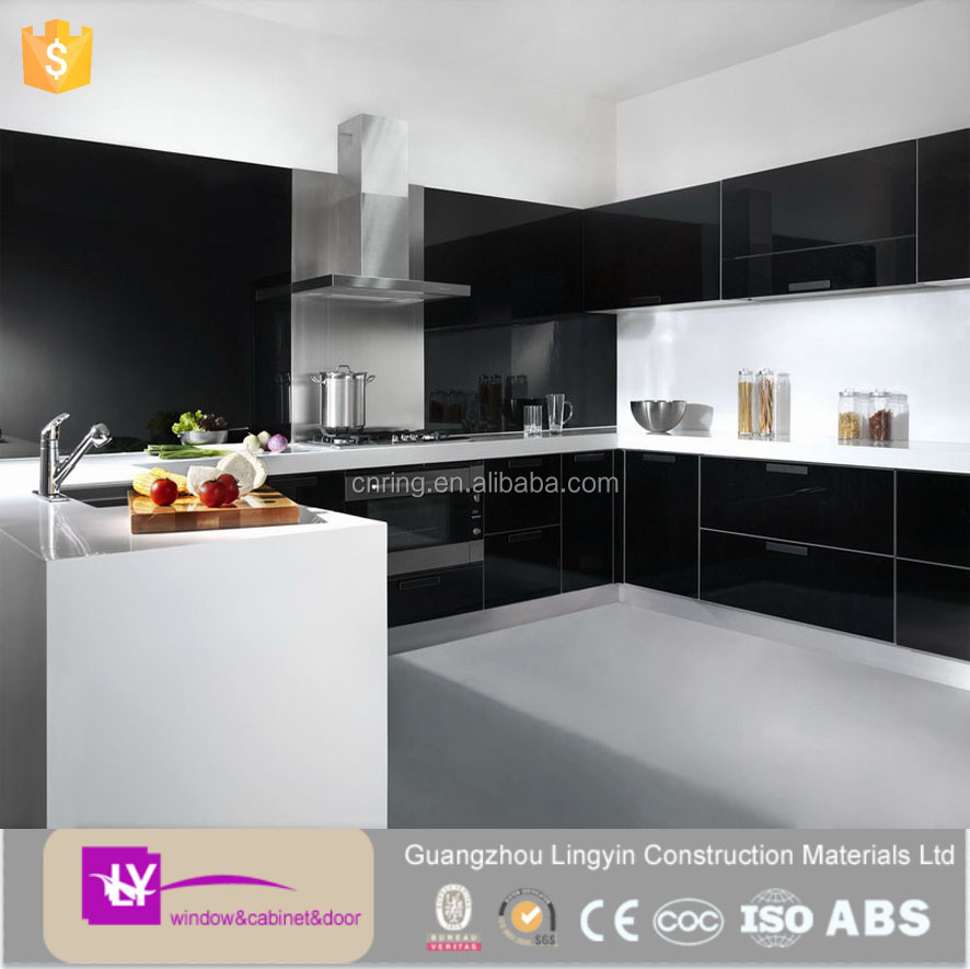 Where To Buy Kitchen Cabinets Wholesale: Modular Modern Black Lacquer Kitchen Cabinets Wholesale