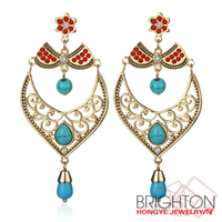 Antique Gold/Silver Turquoise Chandelier Earrings E1-37394-4020