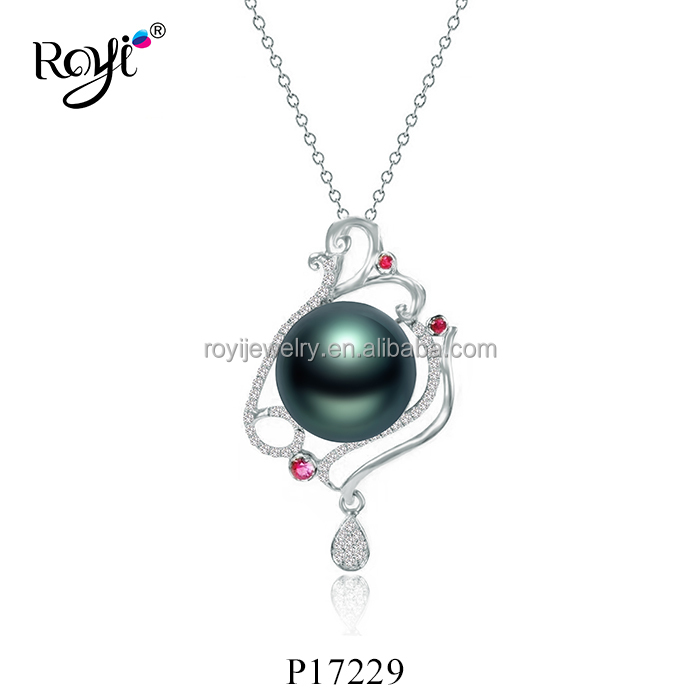 Fashion wholesale street jewelry 925 silver peacock imitation shell pearl mounting pendant