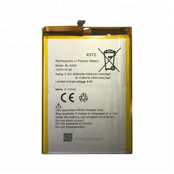 3 85V 4300mAh BL-42AX Rechargeable Li-Polymer Battery For Infinix Note 4  X572 BL42AX Battery, View 3 85V Battery Suppliers For Infinix Note 4 Note4,