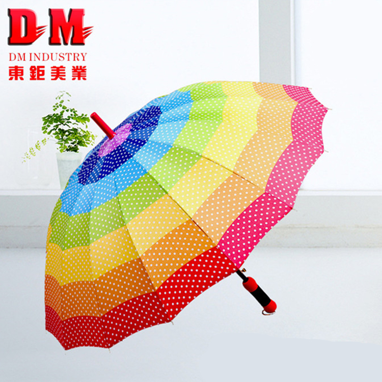 Decoration EVA handle automatic rainbow chinese umbrella rib tips